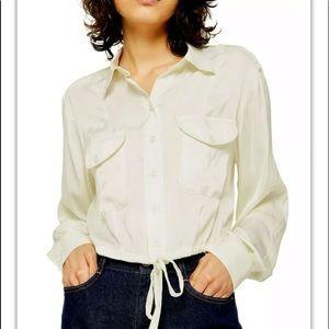 Top shop satin ivory button drawstring blouse 7755